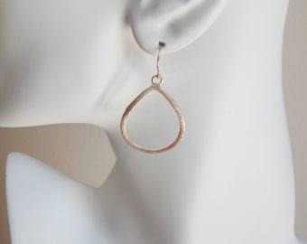 Brushed gold tear drop shape earrings, statement earrings, dangle earrings, boho jewelry, beach chic, trendy earrings, minimalist jewelry