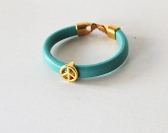 Mint leather bracelet, Gold peace bracelet, Peace sing bracelet, Mint licorice bracelet, Mint arm candy Mint leather cord cuff Mint bracelet