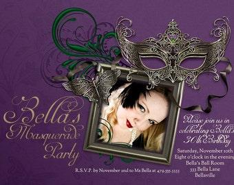 Photo Invitations, Masquerade Party Photo Invitation, Photo Cards, Mardi Gras Party, Party Invitations