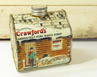 Vintage Crawford Maple Syrup Tin, Tin Log Cabin Syrup Container