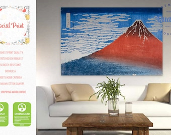 "Katsushika Hokusai ""Fine Wind, Clear Morning"" Canvas Print Reproduction / Red Fuji, fine art Artwork Giclee wall art masterpiece canvas art"