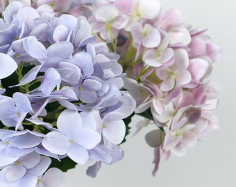 """Luxury Real Touch Hydrangea Stem in Light Purple and Light Pink 24"""" Tall"""