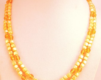 Square Yellow Bead Double Strand Necklace c1940-50s