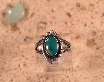 Vintage Navajo Turquoise & Sterling Silver Ring Size 5.5