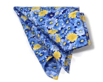 Navy floral pocket square, men's pocket square, boys pocket square, handkerchiefs, navy and yellow floral pocket square