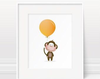 Monkey nursery print, safari animal, nursery art, orange nursery, balloon, new baby gift, kids illustration, animal nursery, baby boy gift