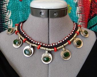 "Kuchi Coin Necklace Tribal Choker Green Glass Jeweled Coins Ethnic Boho Jewelry 19.5"""