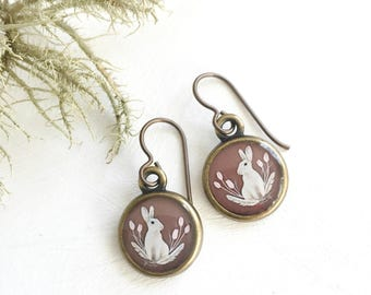Bunny Earrings, Made from an original painting, Easter Bunny Rabbit