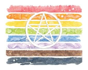 Rainbow Pride Pentacle Print