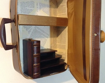 The Great Gatsby Book Inspired Upcycled Suitcase Wall Cabinet/Shelf