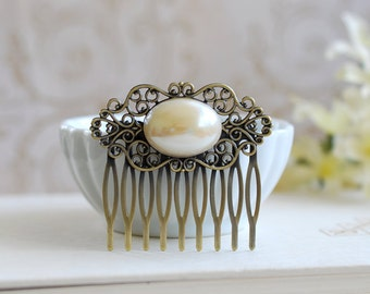 Pearl Filigree Hair Comb, Vintage Oval Cream Ivory Pearl Antique Brass Filigree Comb, Wedding Hairpiece, Bridal Hair Accessory