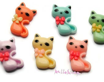 Set of 6 cats resin embellishments scrapbooking card making (ref.410). *.