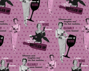 Saturday Evening Post The Power of Wine Fabric by Springs Creative Wine Fabric Power of WIne Fabric Retro Fabric Fifties Fabric