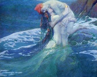 The Mermaid 1910 ~ Howard Pyle - mermaid holding a man - Giclee print