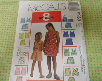 McCalls 9369 Girls Shorts, Skort, and Top Pattern Sizes 7,8,10 Uncut
