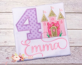 Princess Birthday Shirt or Bodysuit - Castle, Embroidered, Personalized, Monogram, First Birthday, for girls