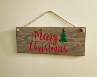 Merry Christmas rustic sign, rustic Christmas sign, Merry Christmas front door sign, rustic Christmas decor
