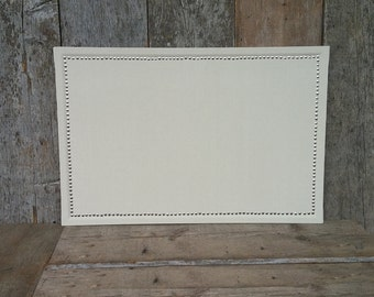 Cream Colored Home Decor Fabric Covered Large 36 x 24 in. Cork Board - Large Pin Board  - Large Message Board - Ivory Bulletin Board