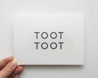 Letterpress Notecard - Toot Toot (Fuschia Envelope)