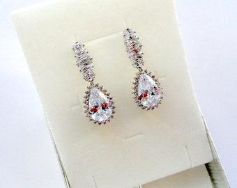 Bridal Earrings Wedding Earrings Bridesmaid Earrings Gift Bridal Jewelry Drop Earrings Crystal Wedding Jewelry Long Earrings Teardrop jm