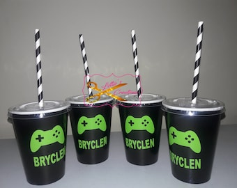 Video Game Birthday Party Cups with lids and straw,   Video Game Tableware, Video Game Cups, Video Game Party Supplies