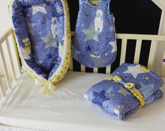 Baby gift set, baby blanket, baby nest, baby cocoon, polar bear pattern, co-sleeper, baby shower gift, new baby gift, Sleeping bag