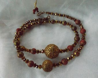 NEPALESE TIBETAN GOLD carved beads, faceted gold beads, red and gold Nepalese Tibetan boho beads, striking necklace.