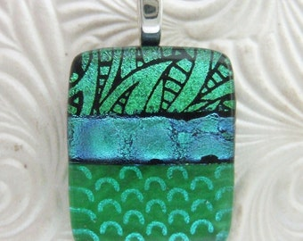 Leafy Emerald Pendant, Handmade Fused Glass Jewelry