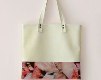 leather tote, pink tote, white Leather tote bag, tote handbag, tote bag, shoulder bag for women, leather bags women, cream tote