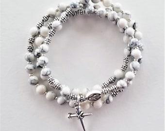 Magnesite Stretch Rosary Bracelet