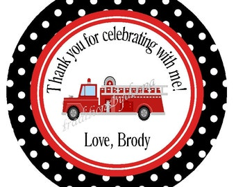 FIRE ENGINE FAVOR Tags/ Fire Truck Boys Birthday/ Party Stickers or Tags/ Party Circles/Decorations/Set of 12