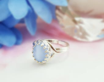 Blue Moonstone Ring - Blue Glass Ring - Blue Opal Jewelry - Something Blue For Bride - Powder Blue Ring Silver - Blue Cabochon Ring R2037