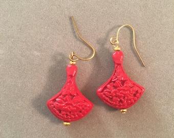 Vintage Hand Carved Red Drop Cinnabar Earrings     (b060)_