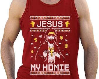 Jesus is My Homie Ugly Christmas Sweater - Men's Tank Top Singlet