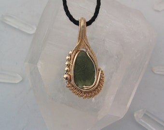 Wire Wrapped Moldavite Pendant Heady Wire Wrap Moldavite Wire Wrap Wire Wrap Pendant 14 Karat Gold Filled