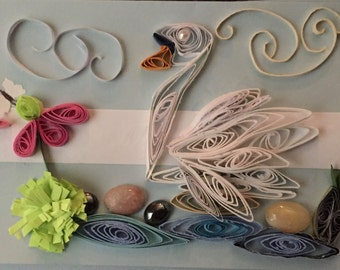 Quilled greeting card with swan
