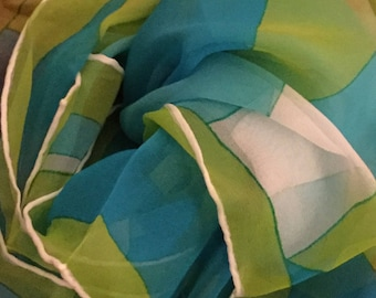 Vibrant 1970's Signed Vera Neumann Blue Green White Verasheer Oblong Scarf Vinal Silk Combination Rolled Edge Hand Stitched Abstract Design