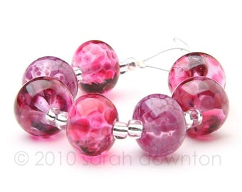 Pinks - Handmade Lampwork Glass Beads by Sarah Downton