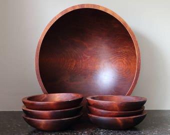 "Baribocraft Wood Salad Bowl Set (Dark Stained) - 13 3/4""x12 5/8"", 6 x 6 1/2"""