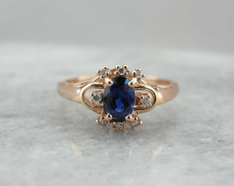 Sapphire and Rose Gold Ring, Sapphire Engagement, Right Hand Ring, September Birthstone  CEY95K