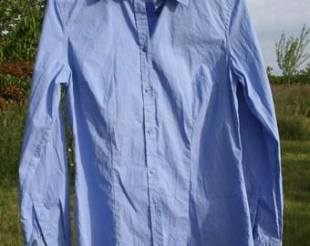 Shirt, Blouse woman.  Blue, striped cotton shirt White.  Shirt, blouse, spring, summer. Size 40/M.  French vintage.