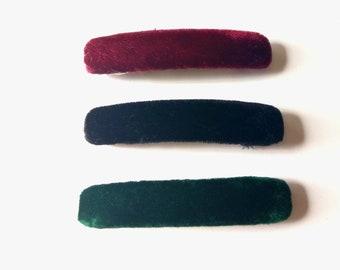 Green Red Black Velvet Velour Hair Clips, Handmade Hair Clips, Velvet Velour Hair Barrettes, Hair Accessories, Boutique