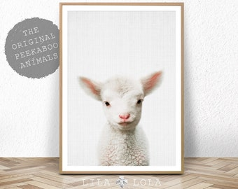 Lamb Nursery Print, Baby Farm Animal, Farmhouse Decor, Printable Digital Download, Kids Room Decor, Farm Bedroom Poster, Sheep Wall Art