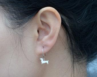 Dachshund Earrings In Sterling Silver, Sausage Dog Earrings, Doggy Earrings, Handmade In The UK