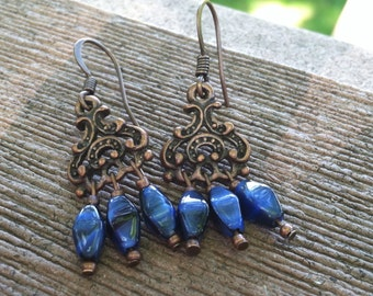 Copper & Cobalt Blue Czech Glass Chandelier Earrings
