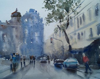 ORIGINAL Watercolor Painting, Prague Watercolor, Watercolor cityscape, Original painting Prague,Watercolor Wall Art, Urbanistic Picture