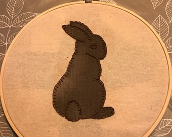 Beautiful applique rabbit embroidery hoop.