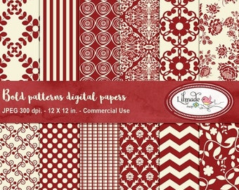 50%OFF Digital papers, damask digital paper, floral digital paper in red and ivory, commercial use digital papers, scrapbook paper, P10
