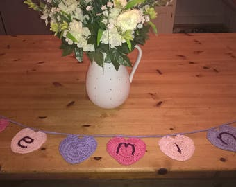Be Mine Crocheted Wedding Proposal Bunting, Valentines, wool