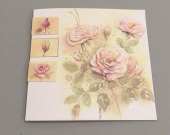 Handmade 3D Pink Roses Card 3 - Any Occasion Blank Dimensional Greeting Card with Pink Roses - Limited Edition
